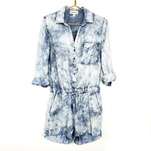 Cloth & Stone Tie Dye Stripped Chambray Romper